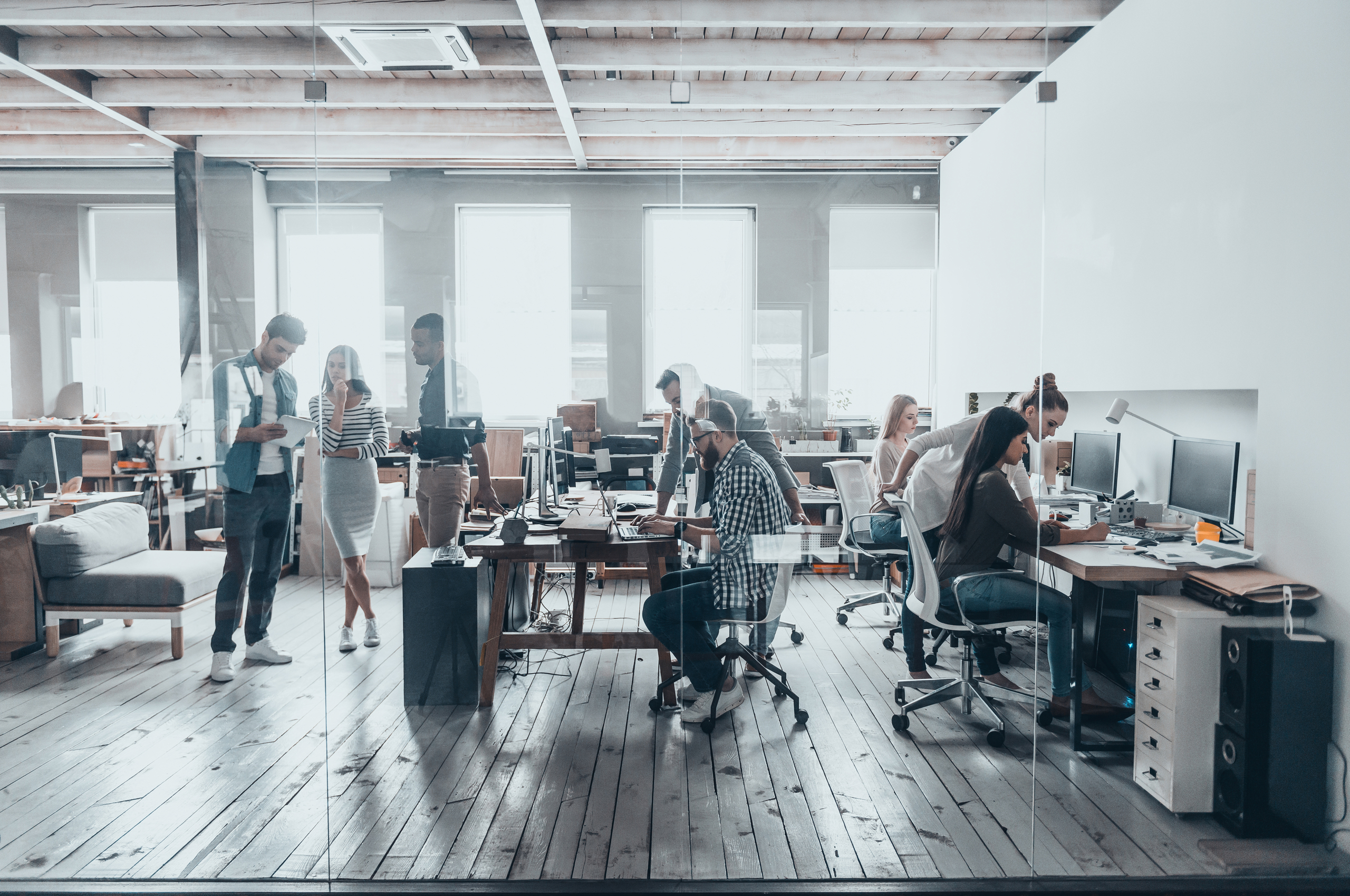 a group of young people work at desks in an open-plan office