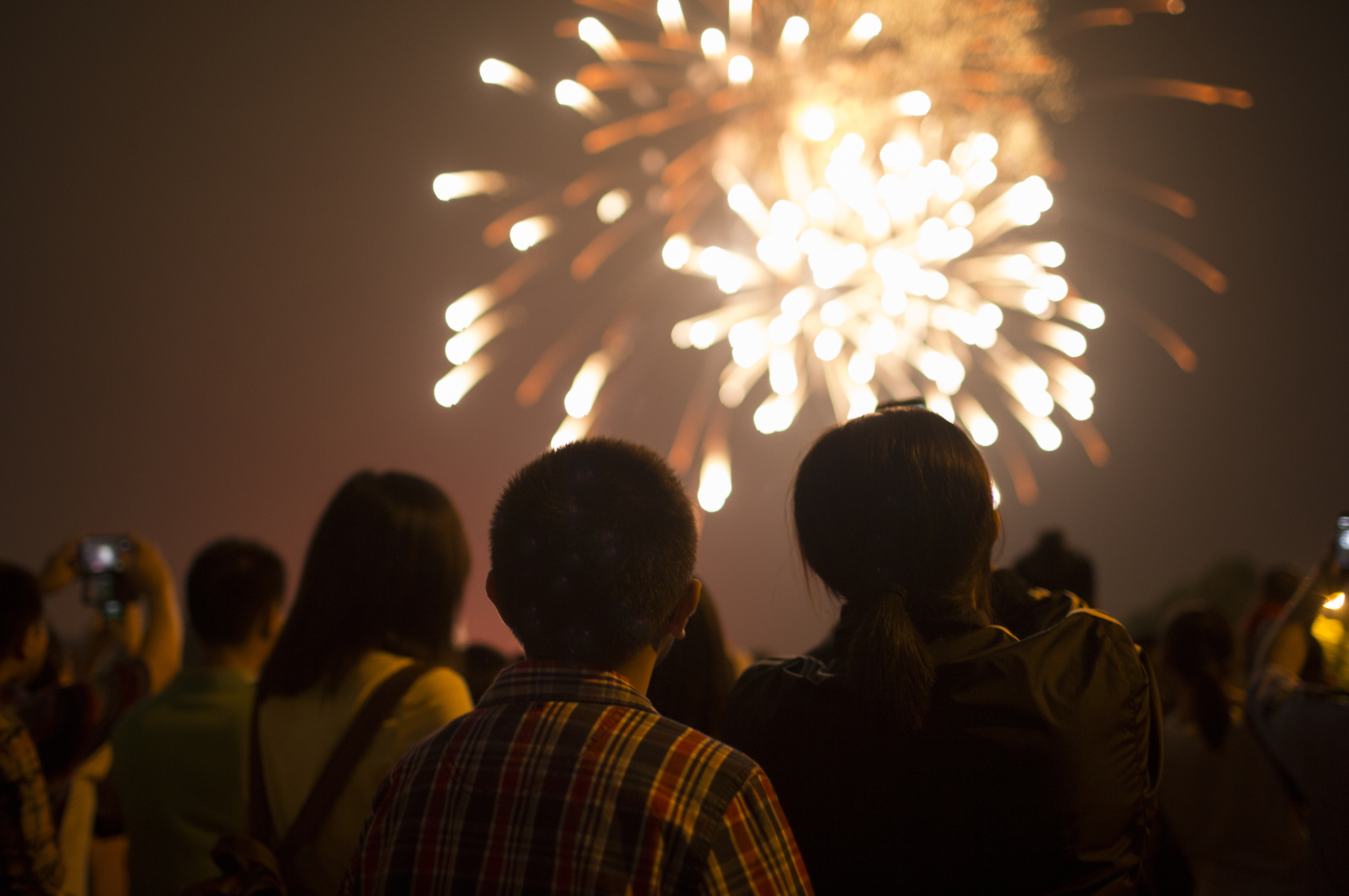 silhouette of people watching a firework display